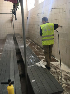 Cleaning and Disinfecting of Change Rooms with Karcher Pressure Washer