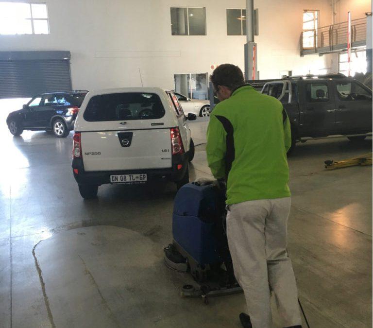 Numatic TT4045 Auto-Scrubber Demonstration at Car Dealership